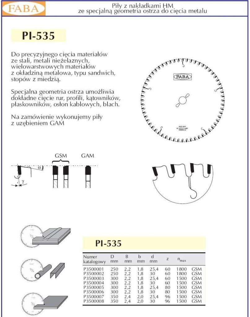 pily do stali PI-535
